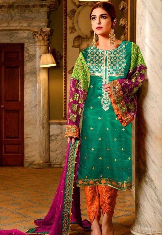 Maria 18111 green-Embroided 3pc lawn dress with chiffon dupatta. - gracestore.pk