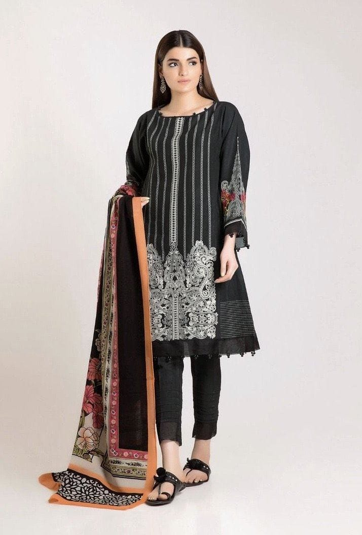 Khaadi vol 1 black-Embroided 3PC khaddar Dress with wool shawl. - gracestore.pk