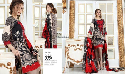 Charizma 1824 red-Embroided 3pc lawn dress with chiffon dupatta. - gracestore.pk