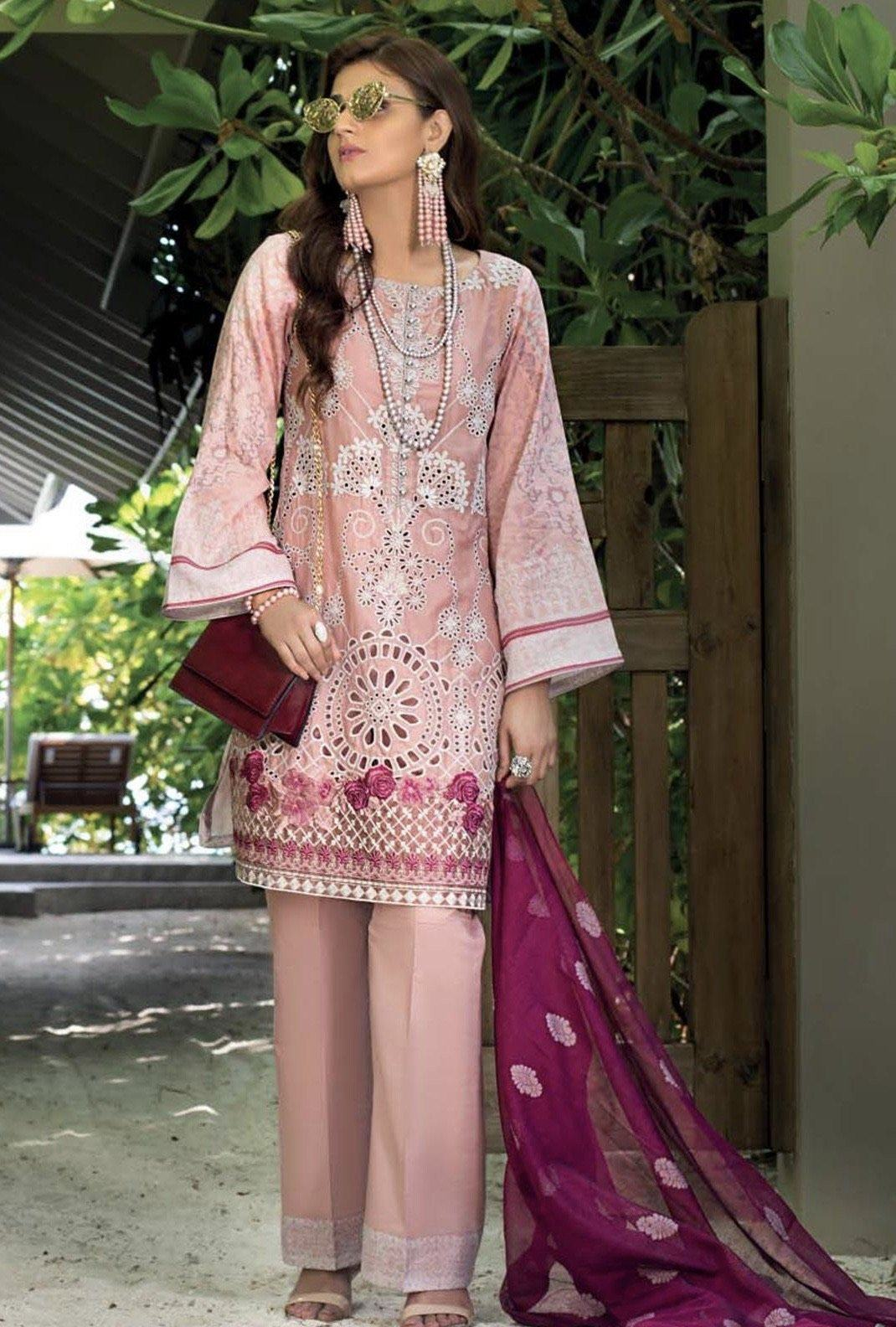 Zainab Peach 8B -Embroidered 3pc lawn chicken kari dress with printed chiffon dupatta.