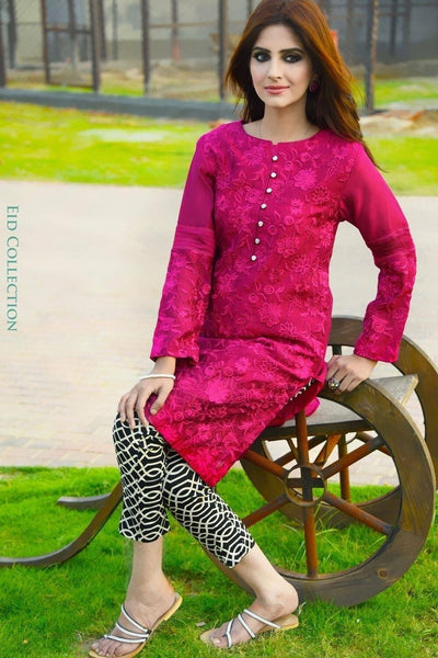 Nimsay 18151-Embroided 3pc lawn dress with embroided bamber chiffon dupatta. - gracestore.pk
