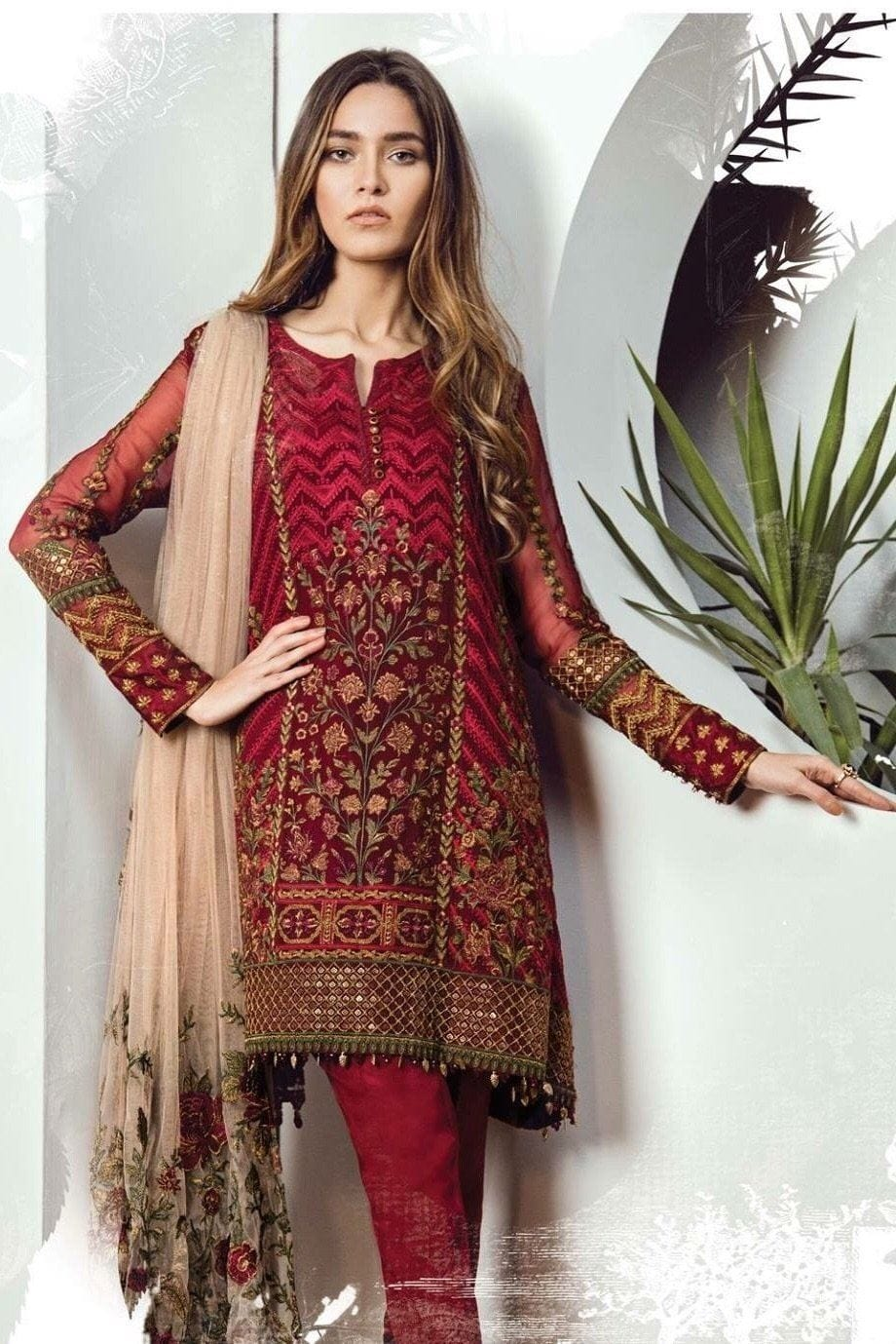 Barooque 05-Heavy Embroided 3pc unstiched chiffon dress with embroided chiffon dupatta. - gracestore.pk