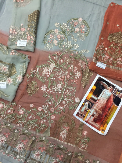 Serene 3-Heavy Embroided 3pc unstiched pure chiffon dress with embroided chiffon dupatta. - gracestore.pk