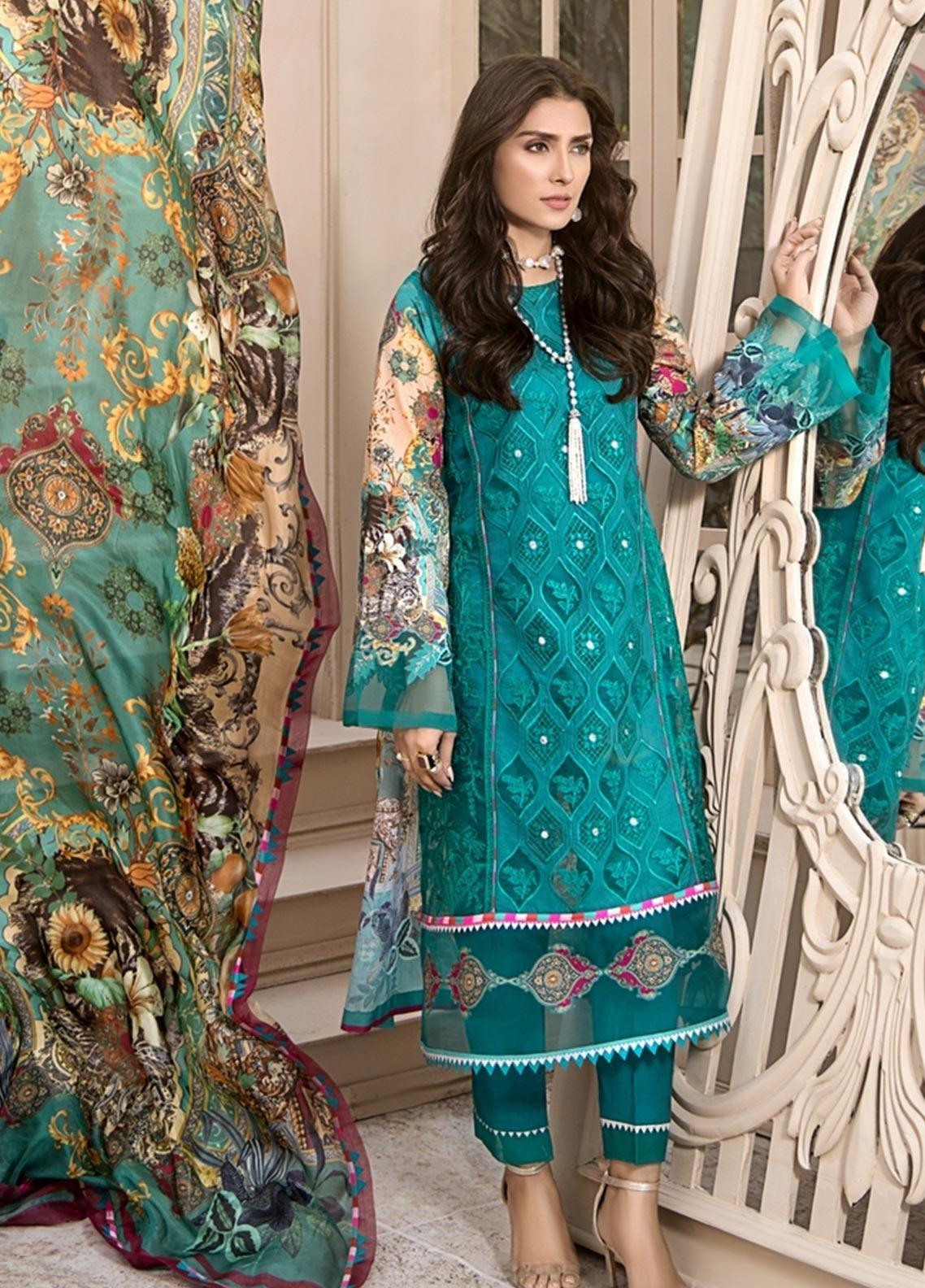 Noor 7A -Heavy Embroidered 3pc lawn dress with printed chiffon dupatta.