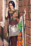 Charizma ps 16-Embroided 3pc khaddar dress with wool shawl. - gracestore.pk