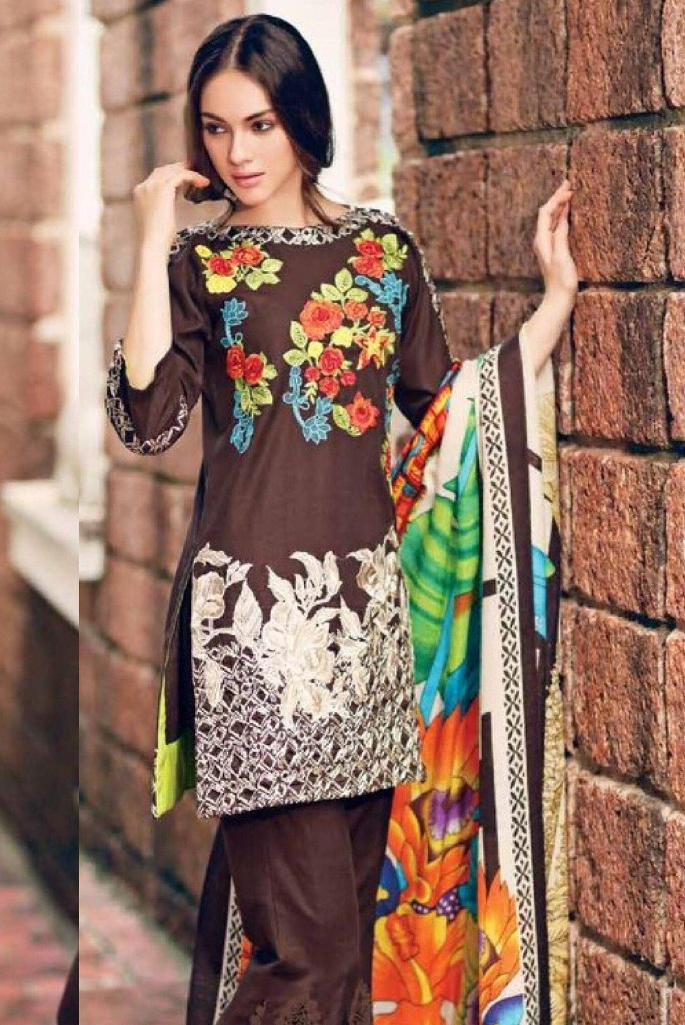 00723a1ac Charizma ps 16-Embroided 3pc khaddar dress with wool shawl. - gracestore.pk