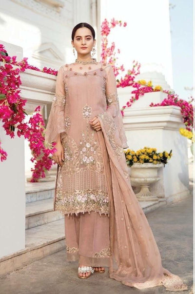 Imrozia 10-Heavy Embroided 3pc unstiched pure chiffon dress with embroided chiffon dupatta. - gracestore.pk