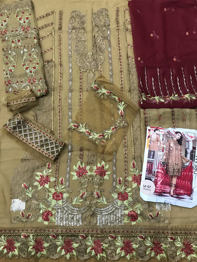 Maryam's 57-Heavy Embroided 3pc unstiched pure chiffon dress with embroided chiffon dupatta. - gracestore.pk