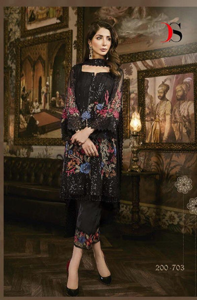 Deepsy nasreen -Heavy Embroided 3pc unstiched pure chiffon dress with embroided chiffon dupatta. - gracestore.pk