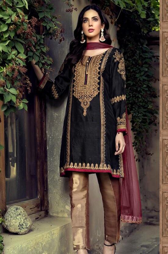 Maria 18039-Embroided 3pc linen dress with printed shawl. - gracestore.pk