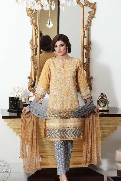 Khaadi 20-Embroided 3pc khaddar dress with wool shawl. - gracestore.pk