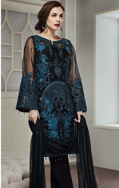 Jazmin 07-Heavy Embroided pure Chiffon Unstiched 3pc dress with embroided chiffon dupatta - gracestore.pk