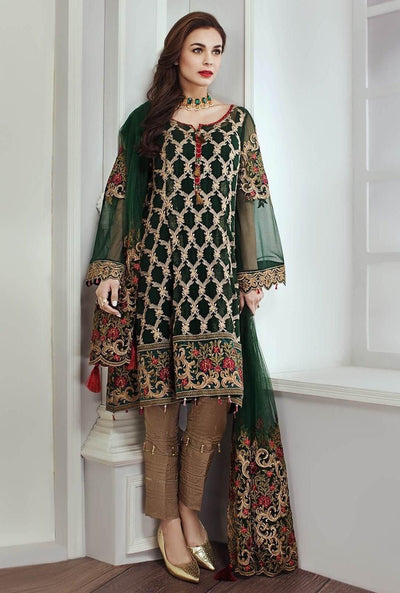 Jazmin 818-Heavy Embroided 3pc lawn dress with embroided chiffon sleeves & dupatta. - gracestore.pk