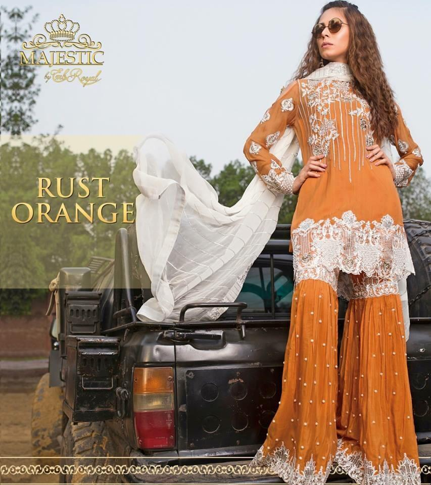 Embroyal rust orange-Heavy Embroided 3pc unstiched pure bambor chiffon dress with embroided bambor chiffon dupatta. - gracestore.pk