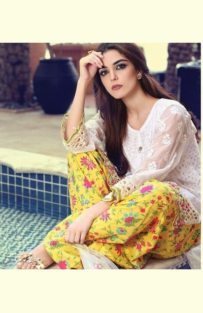 Maria white-Embroided 3pc lawn dress with chiffon dupatta. - gracestore.pk