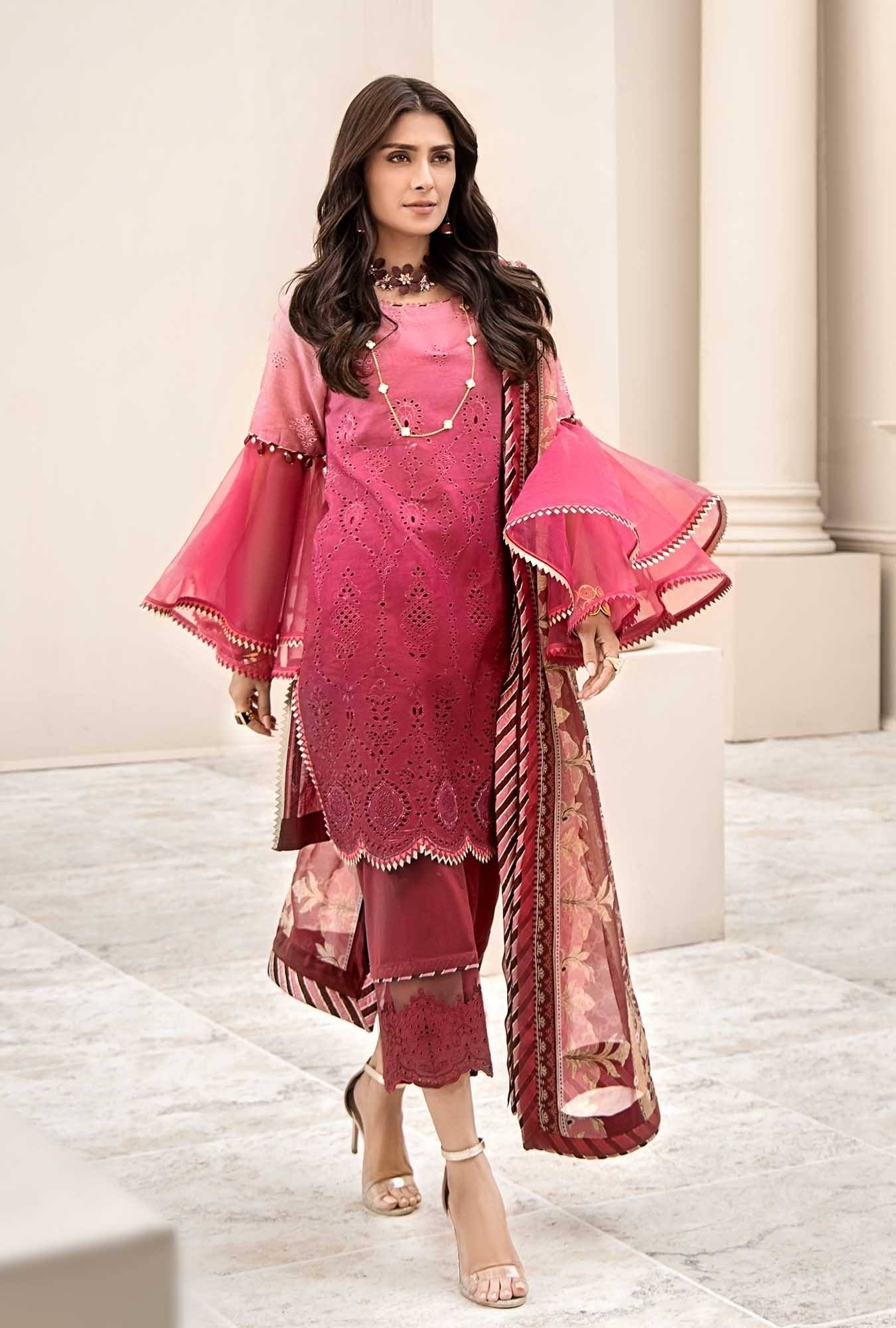 Noor red -Embroidered 3pc lawn chicken kari dress with printed chiffon dupatta.