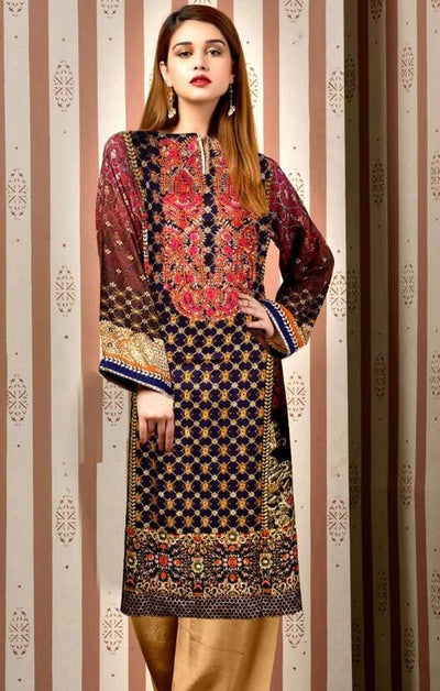 Kayseria 18220-Embroided 3pc lawn dress with chiffon dupatta. - gracestore.pk