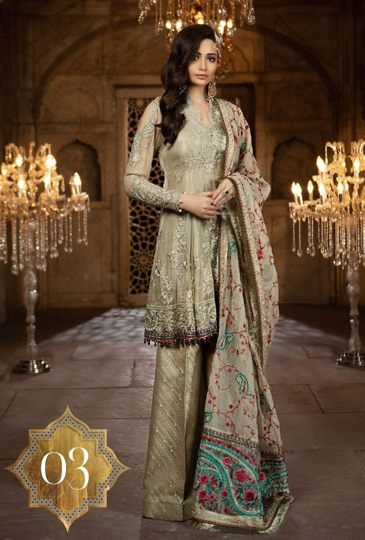 Maria 03-Heavy Embroided 2pc unstiched pure chiffon dress with embroided chiffon dupatta. - gracestore.pk