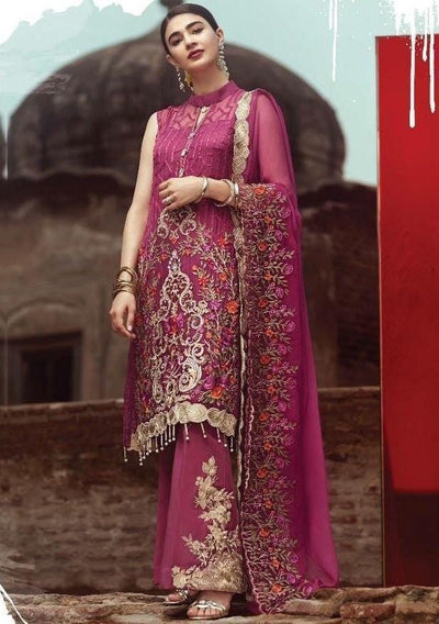 Serene 4-Heavy Embroided 3pc unstiched pure chiffon dress with embroided chiffon dupatta. - gracestore.pk