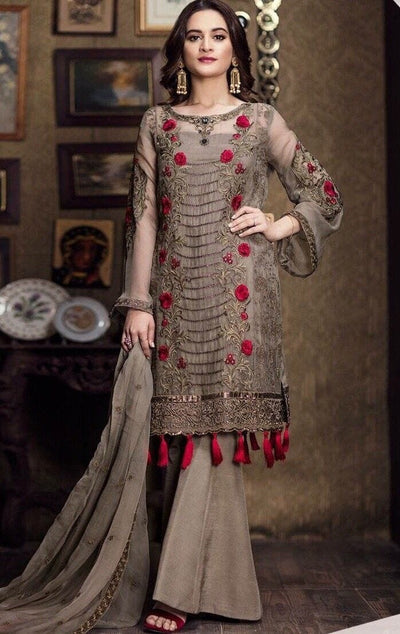 Imrozia 09-Embroided 3pc linen dress with embroided chiffon dupatta. - gracestore.pk
