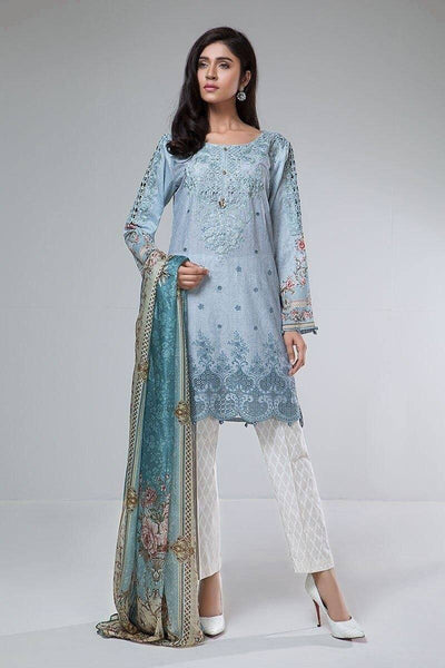 Maria 18082 A-Embroided 3pc lawn dress with chiffon dupatta. - gracestore.pk