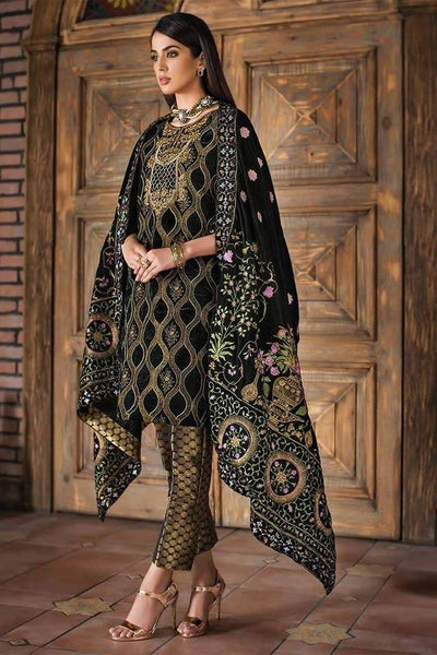 Gul Ahmad vlw 05-Embroided 3pc micro velvet dress with embroided velvet shawl. - gracestore.pk