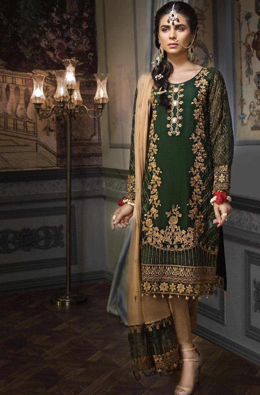 Mohagni 18427 - Embroidered 3pc Lawn dress with printed chiffon dupatta. - gracestore.pk