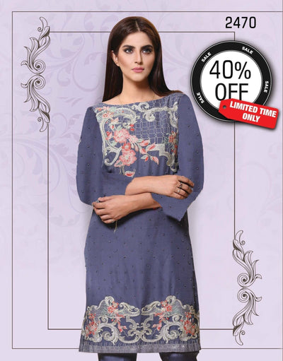 Needlez Original 2470-Chiffon Unstiched 3pcs Embroided dress - gracestore.pk