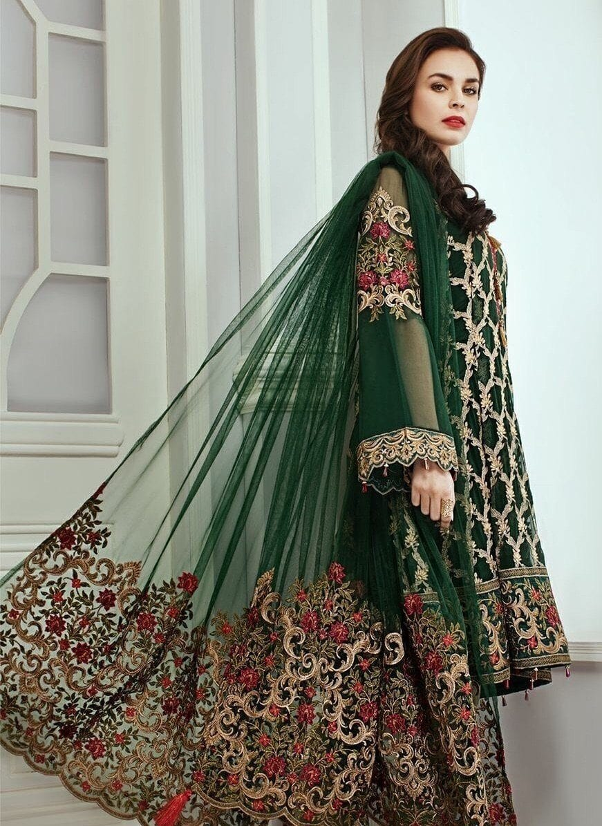 Jazmin green-Heavy Embroided 3pc unstiched pure chiffon dress with embroided net dupatta. - gracestore.pk
