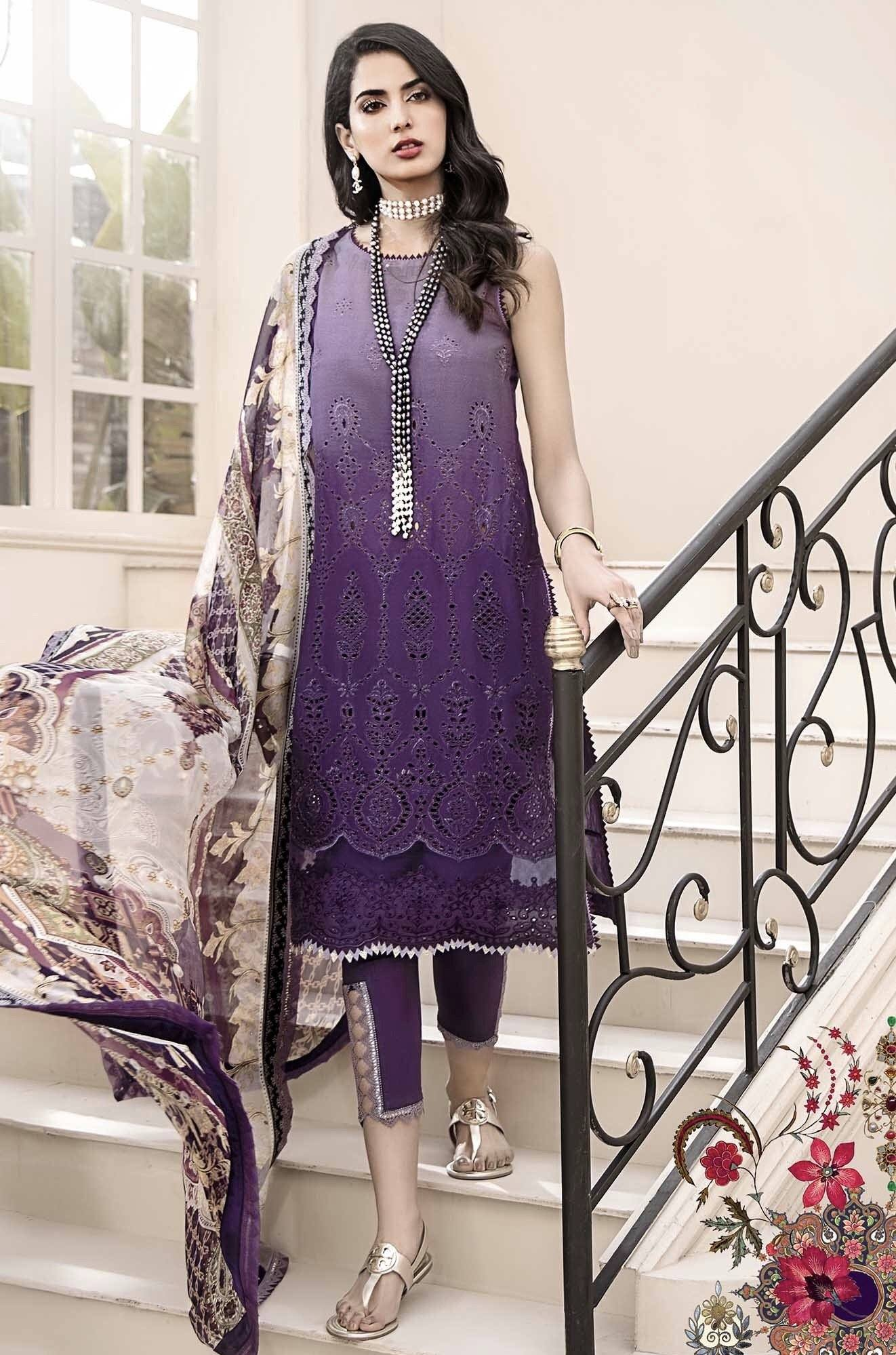 Noor purple -Embroidered 3pc lawn chicken kari dress with printed chiffon dupatta.