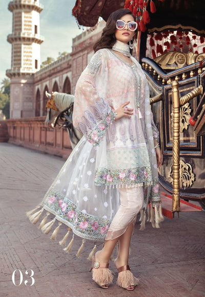 Maria 03 white-Heavy Embroided 3pc unstiched pure chiffon dress with embroided chiffon dupatta. - gracestore.pk