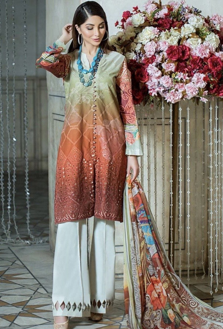 SRN brown-Embroided 3pc lawn chicken kari dress with printed chiffon dupatta. - gracestore.pk