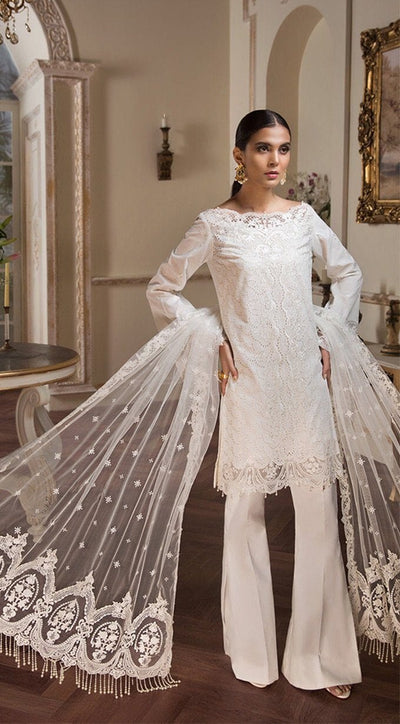 Anaya white-Shifli Embroided 3pc lawn chicken dress with embroided net dupatta. - gracestore.pk