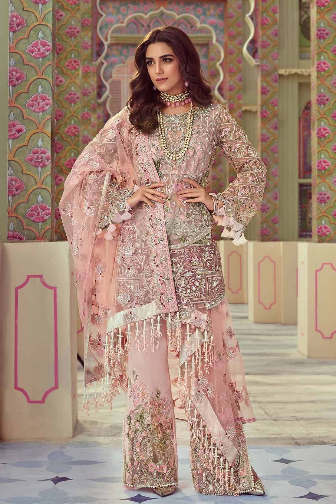 Crimson D4-Heavy Embroided 3pc unstiched pure chiffon dress with embroided chiffon dupatta. - gracestore.pk
