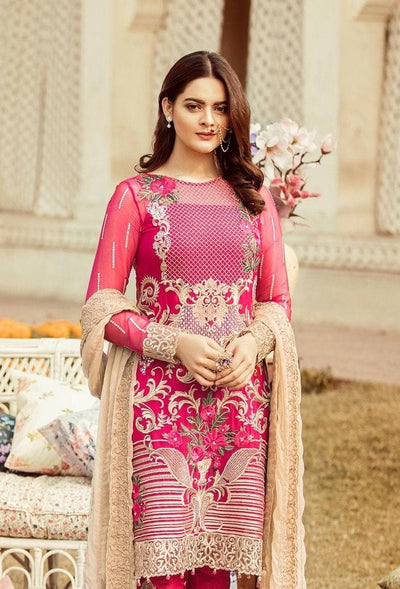 Imrozia 18397-Embroided 3pc lawn dress with embroided chiffon dupatta. - gracestore.pk