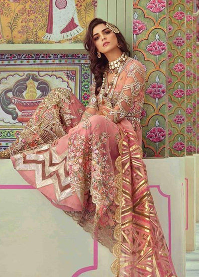 Crimson D2-Heavy Embroided 3pc unstiched pure chiffon dress with printed chiffon dupatta. - gracestore.pk