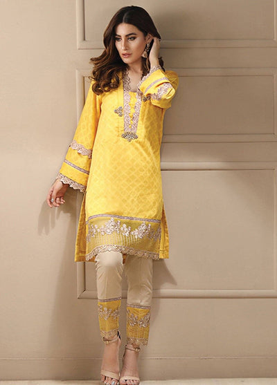 Azure yellow-Embroided 2pc lawn dress shirt & trouser. - gracestore.pk