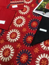Serena red-Embroided 2pc linen dress shirt & trouser.