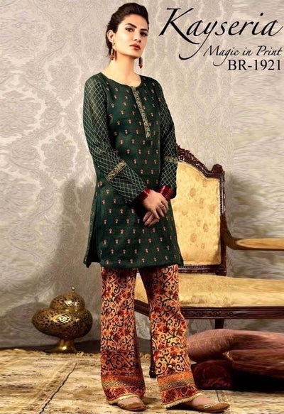 Kayseria 220-Embroided 2pc lawn dress shirt & trouser. - gracestore.pk