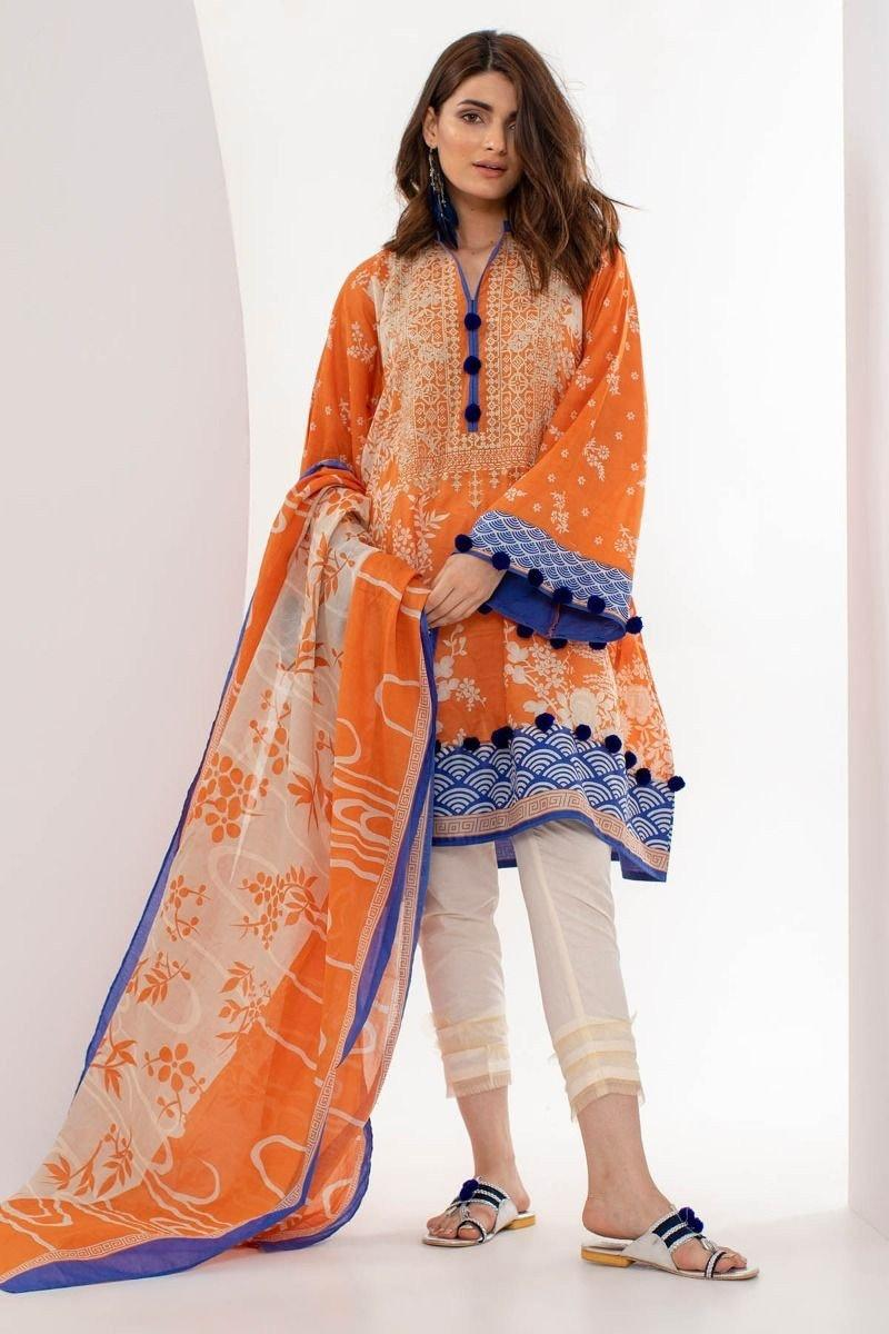 Khaadi 6327-Embroided 3pc linen dress with printed shawl. - gracestore.pk