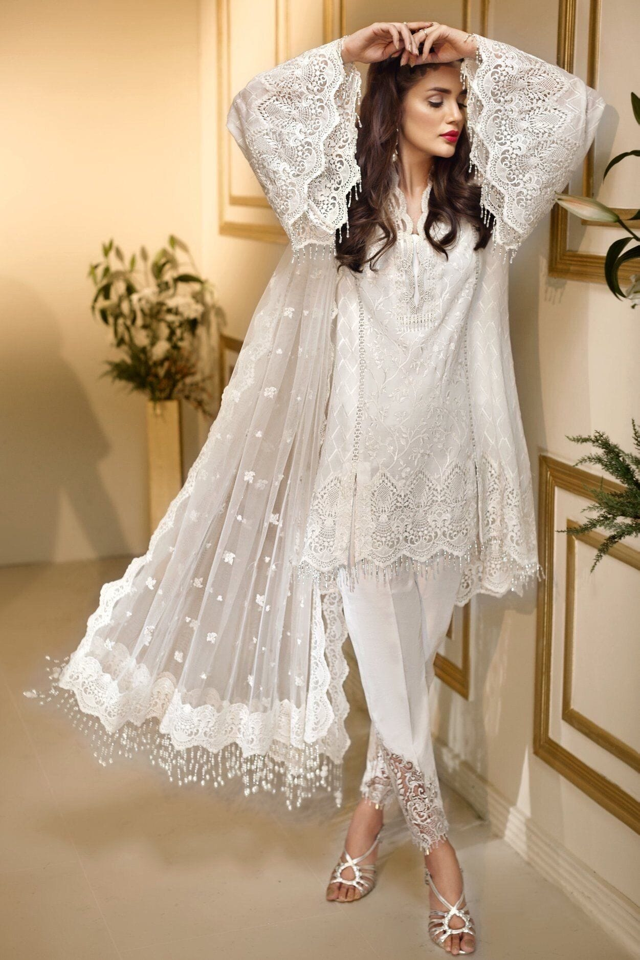 Anaya white-Heavy Embroided 3pc unstiched pure chiffon dress with embroided chiffon dupatta. - gracestore.pk