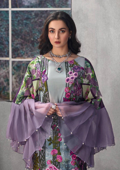 Asifa & Nabeel 19-Heavy Embroided 3pc lawn dress with chiffon dupatta. - gracestore.pk