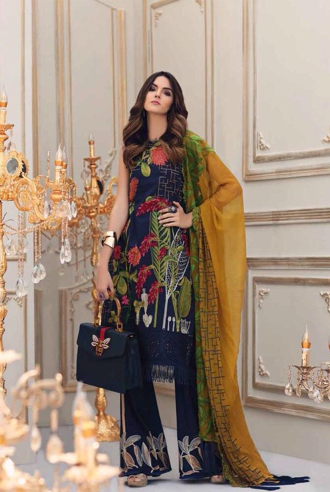 Charizma Blue-Embroided 3pc linen dress with embroided chiffon dupatta. - gracestore.pk