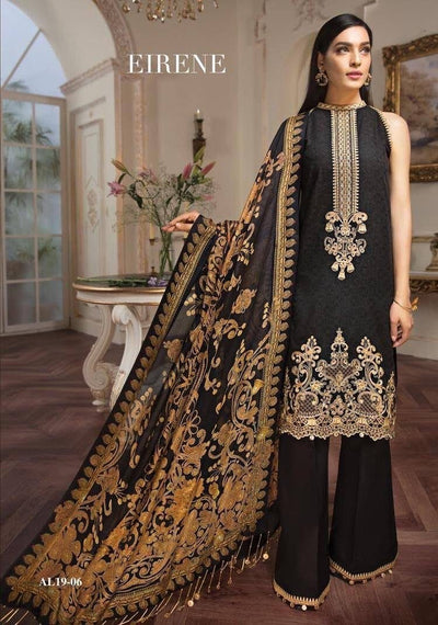 Anaya black-Heavy Embroided 3pc unstiched lawn dress with chiffon dupatta. - gracestore.pk