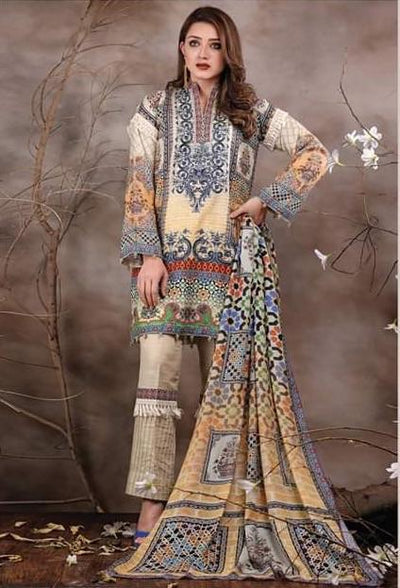 Sanoor 1809-Embroided 3pc lawn dress with chiffon dupatta. - gracestore.pk