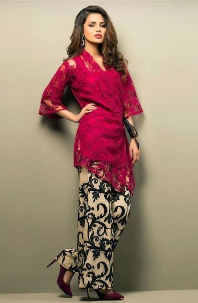 Zainab chottani D 149 L-Embroided net front 2pc linen dress shirt & trouser. - gracestore.pk