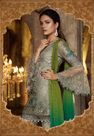 Maria 06-Heavy Embroided 2pc unstiched pure chiffon dress with embroided chiffon dupatta. - gracestore.pk