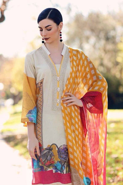 Charizma 18294-Embroided 3pc lawn dress with chiffon dupatta. - gracestore.pk