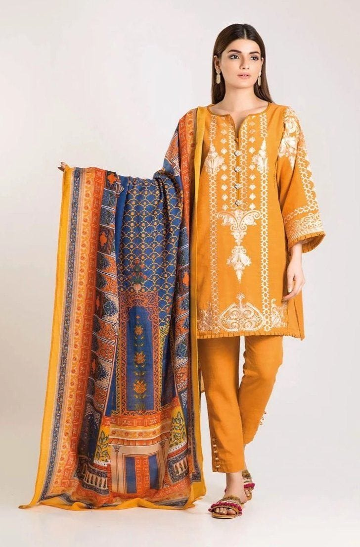Khaadi yellow-Embroided 3PC khaddar Dress with wool shawl. - gracestore.pk