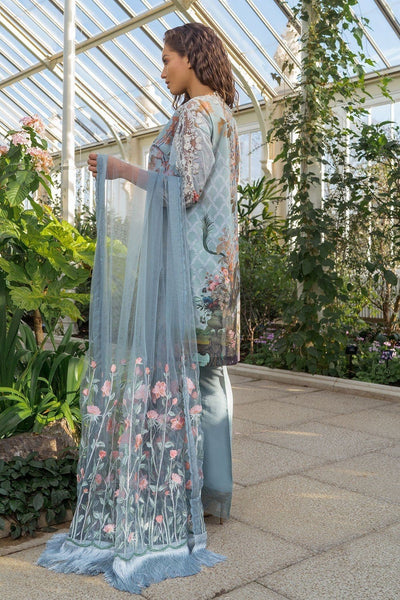sobia Nazir 11A-Embroided 3pc lawn  dress with embroided net dupatta. - gracestore.pk